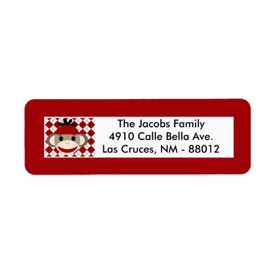 ".75""x2.25"" Return Address Label Red Sock Monkey"