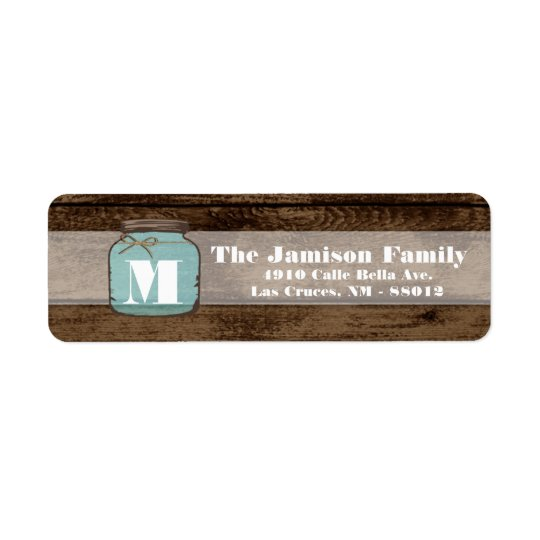 ".75""x2.25"" Return Address Mason Jar Wood Country Return Address Label"