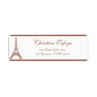 ".75"" x 2.25"" Return Address Floral Spiral in Paris Return Address Label"