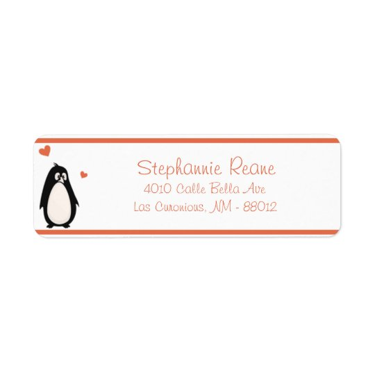 ".75"" x 2.25"" Return Address Penguin Love/Hearts Return Address Label"