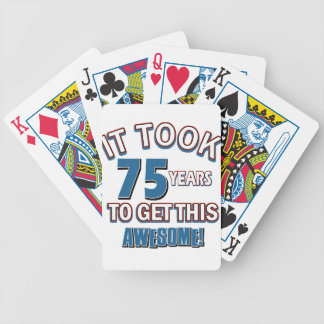75 year old birthday designs bicycle playing cards