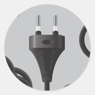 75Power Plug_rasterized Classic Round Sticker