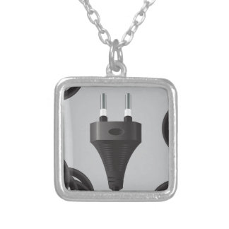 75Power Plug_rasterized Silver Plated Necklace