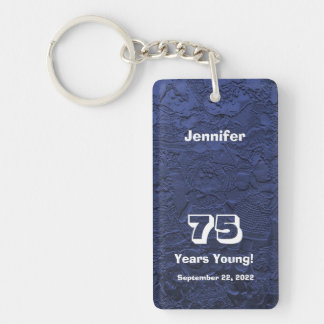 75th Birthday 75 Years Young Blue Dolls Keychain