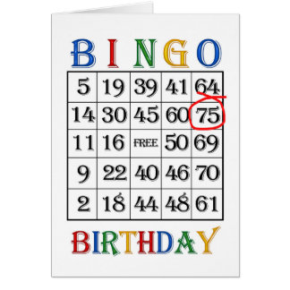 75th Birthday Bingo card