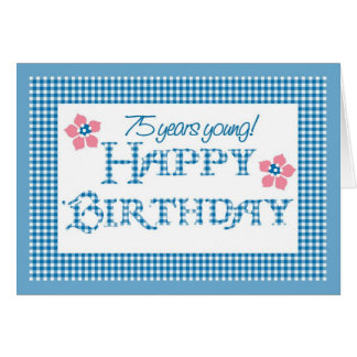 75th Birthday, Blue Check Gingham Pattern Card