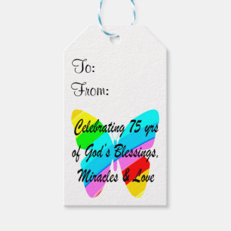 75TH BIRTHDAY BUTTERFLY PERSONALIZED DESIGN PACK OF GIFT TAGS