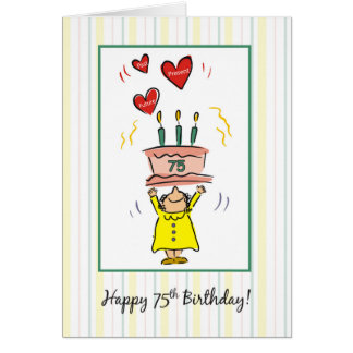 75th Birthday Cake and Hearts for Woman Card