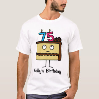 75th Birthday Cake with Candles T-Shirt