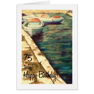 75th Birthday Card - Blue Boats
