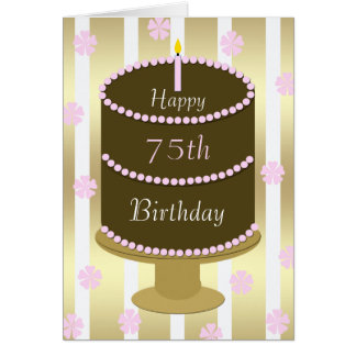 75th Birthday Card Cake in Pink