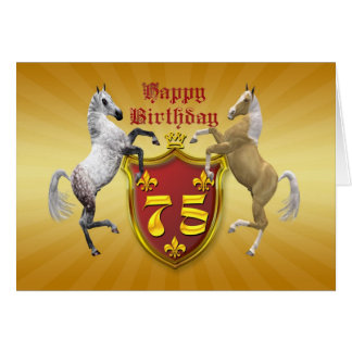 75th birthday card with a coat of arms