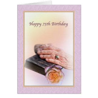 75th Birthday Card with Aged Hands and Bible
