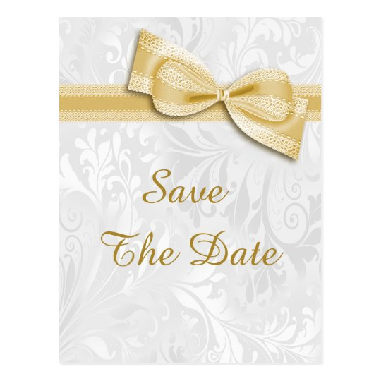 75th Birthday Damask and Faux Bow Save The Date Postcard