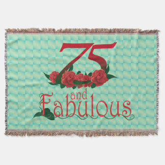 75th birthday diva red rose 75 flower blanket throw blanket
