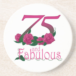75th birthday fabulous pink floral age number coaster