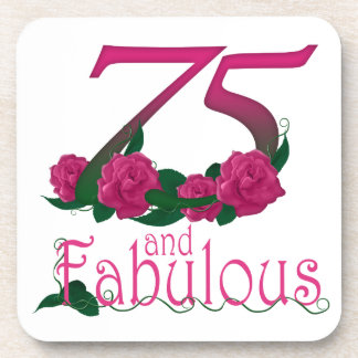 75th birthday fabulous pink floral age number drink coasters