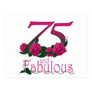 75th birthday fabulous pink floral age number postcard
