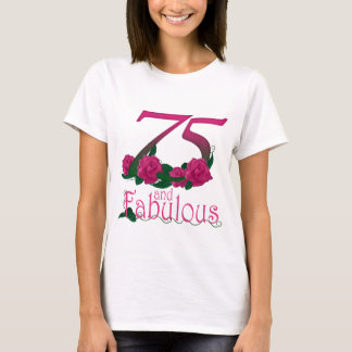 75th birthday fabulous pink floral age number T-Shirt