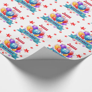 75th Birthday Festive Colorful Balloons C01GZ Wrapping Paper
