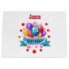 75th Birthday Festive Colourful Balloons C01GZ Large Gift Bag