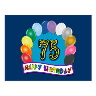 75th Birthday Gifts with Assorted Balloons Design Postcard