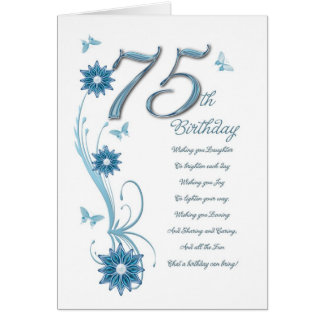 75th birthday in teal with flowers and butterfly greeting card