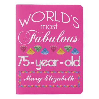 75th Birthday Most Fabulous Colorful Gems Pink Extra Large Moleskine Notebook