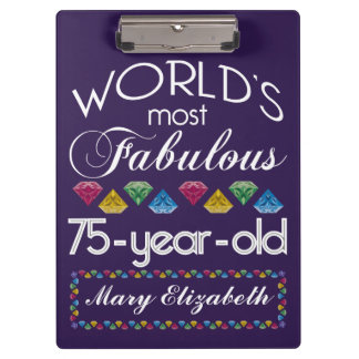 75th Birthday Most Fabulous Colorful Gems Purple Clipboard
