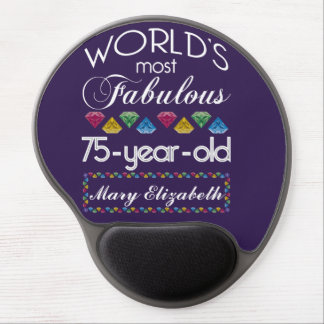 75th Birthday Most Fabulous Colorful Gems Purple Gel Mouse Pad