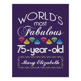 75th Birthday Most Fabulous Colorful Gems Purple Letterhead
