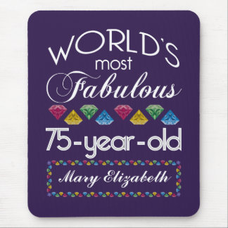 75th Birthday Most Fabulous Colorful Gems Purple Mousepad