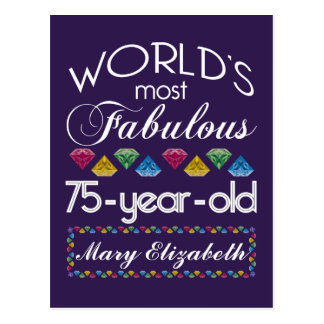 75th Birthday Most Fabulous Colorful Gems Purple Postcards