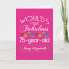 75th Birthday Most Fabulous Colourful Gems Pink Card