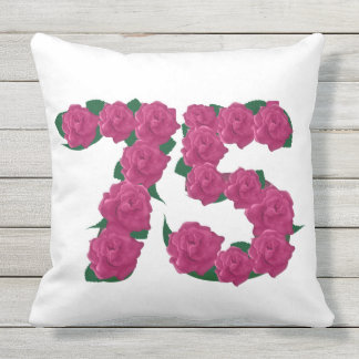 75th birthday Outdoor Throw Pillow