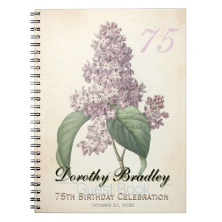 75th Birthday Party Botanical Lilac Guest Book