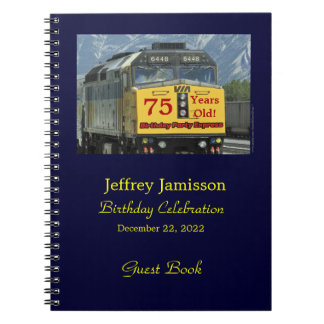 75th Birthday Party Guest Book, Yellow Train Notebook