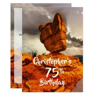 75th Birthday Party Invitation, Balanced Rock Card