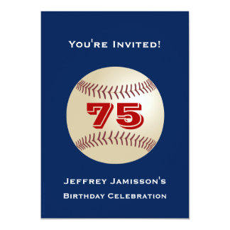 75th Birthday Party Invitation Baseball