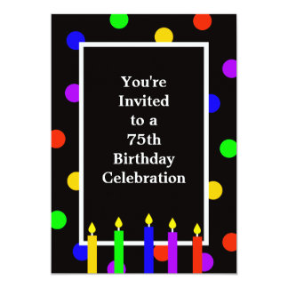 75th Birthday Party Invitation Colorful Candles