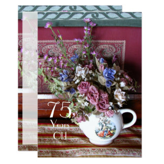 75th Birthday Party Invitation, Vintage Teapot Card
