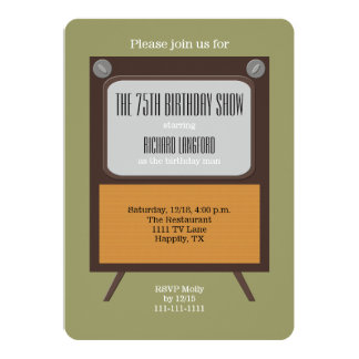 75th Birthday Party Invitation Vintage TV