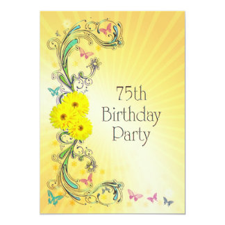 75th Birthday party Invitation with yellow flower