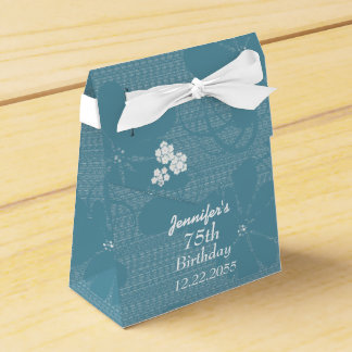 75th Birthday, Personalized Favor Box, Blue Floral Favor Box