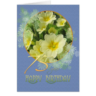 75th Birthday Primroses and blue Card