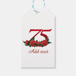 75th birthday red rose number 75 gift tags