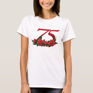 75th birthday red rose number 75 T-Shirt