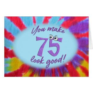 75th birthday tie dye frame card