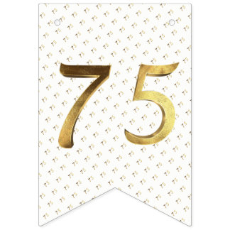 75th Birthday Wedding Anniversary Gold Number Bunting Flags