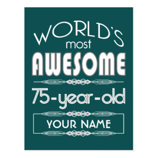 75th Birthday Worlds Best Fabulous Dark Green Post Cards